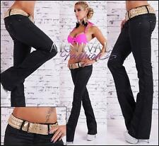 NEW SEXY BLACK WET LOOK PANTS + BELT size XS S M L XL BOOT CUT LEATHER HOTPANTS