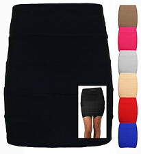 Ladies Ribbed Panel STRETCH Bandage Style Zip Back Bodycon Mini Skirt Size 8-14