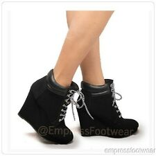 Timberlands Style Lace Up Heel Sneaker Black Faux Leather Wedges Ankle Booties