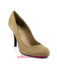 Awesome Cutie Round Toe Stilettos Pumps Light Taupe Faux Suede
