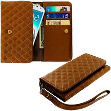 Brown Luxury Wallet Flip Pouch Case Cover Card ID Holder Lanyard for Phones