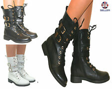 WOMENS LADIES MILITARY BOOTS ARMY COMBAT ANKLE LACE UP FLAT BIKER ZIP SIZES