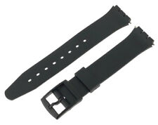 Black Swatch Style Resin Watch Strap 17mm and 14mm With Fitting Pins
