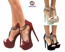 LADIES WOMENS PLATFORM PEEP TOE CHUNKY CHAIN HIGH STILETTO HEELS SANDALS SIZE