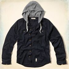 NWT HOLLISTER By Abercrombie Northside Hooded Shirt Navy Blue !!