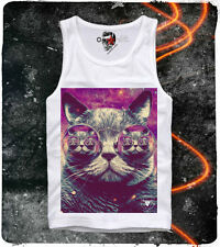 E1SYNDICATE TANK TOP TRIPPY HIPSTER CAT LSD WASTED YOUTH DOPE DC MDMA WEED