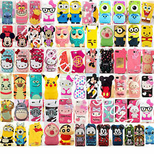 "3D Cartoon Soft Silicone Cover Case For iPhone 4/4S 5/5S/5C 6 4.7"" 6+ 5.5"" Touch"