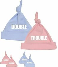 BabyPrem Baby Clothes DOUBLE TROUBLE TWINS Cotton Knotted Hat Fun Shower Gifts