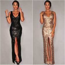 Gold/Black Floral Sequin  Maxi Dress Plunge Neck  Evening Party Prom UK8-10-12