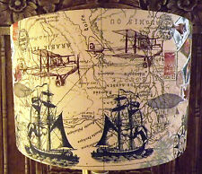 Old Map Decoupage lamp shade,lampshade shabby chic travel ships planes Free Gift