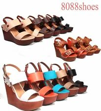 Women's Summer Fashion OPen Toe Faux Wood Platform Wedge Sandal Shoes Size 6-11