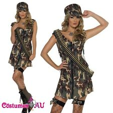 Smiffys Ladies Fever Army Girl Costume Top Gun Military Soldier Fancy Dress Hat