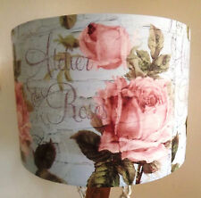 Antique Rose Aqua Lampshade shabby chic french script bedroom MOTHERS DAY GIFT