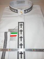 Mens White & Black Cross Embroidery Detail Banded No Collar Dress Shirt DS2005C