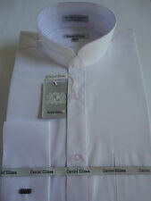 Mens White Nehru Banded Victorian Style Collar French Cuff Dress Shirt DS3002C