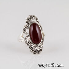 Sterling Silver Ring with Large Red Agate Stone and Genuine Swiss Marcasite