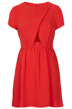 Topshop Red Short Sleeve Cut Out Dress