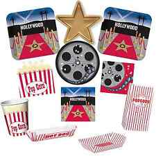 Movie Night Party Sleepover Party Tableware Plates, Napkins, Hollywood,  Popcorn