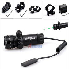 980ft/300m Tactical Rifle GreenDot Scope Laser Sight Light+Pressure Switch+Mount
