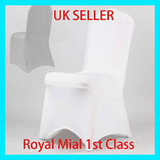 White Covers Spandex Lycra Chair Cover Wedding Banquet Party ARCHED FRONT UK