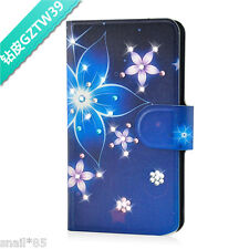 DIY Bling Diamond Flower PU Leather Flip Case Cover For Lenovo Phone