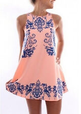 Vintage Women Summer Sleeveless Blue and White Cocktail Party Evening Mini Dress