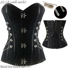 Gothic Black Spiral Steel Boned Steampunk Overbust Corset Basques Outfit Top #Y
