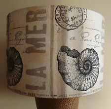 Shell Script La Mer Lampshade vintage shabby chic bathroom nautical cream black