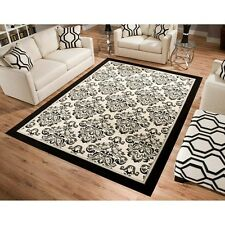 NEW Cream Beige Black White DAMASK AREA RUG BedRoom Living Room Home Decor 5x8