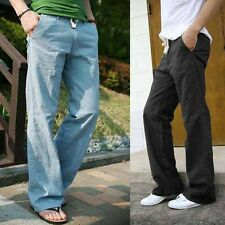 Good Men's Trousers Linen Pants Long Loose Bucket Big Straight Pants At-home