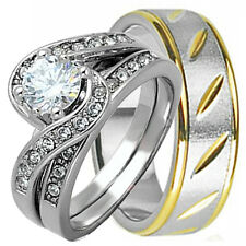 His/Hers 3 pcs .925 STERLING SILVER and STAINLESS STEEL wedding bridal ring set