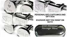 SILVER SQUARE PERSONALISED DATED mens shirt wedding cufflinks Groom best man GBA