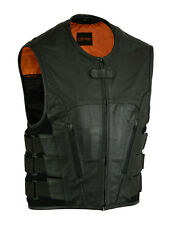 Mens Leather Vest Black Mens Updated Club Best DS007 Daniel Smart Single Panel