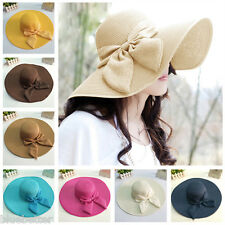 Summer Womens Floppy Straw Hat  Fedora Panama Foldable Wide Brim Sun Beach Cap