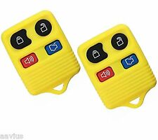 Best 2 Replacement Keyless Entry Remote 4 Button Key Fob For Ford Car SUV Yellow