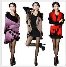 2015 cashmere cape real rabbit fur ball knitted shawl knitted wool coat
