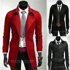 New Men's Slim Fit Trench Coat Casual Outwear Tops Jackets WInter Warm Overcoat
