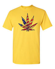 Marijuana Plant Flag Weed Cannabis Plant Hemp Funny Men's Tee Shirt 1113