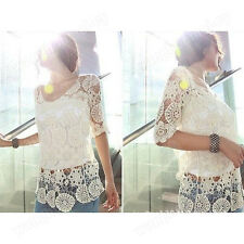 Korea Fashion Women Elegant Crochet Lace Knit Tops Outwear Shirt Cover Up Blouse