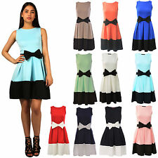 Women Ladies Contrast Panel Bow Detail Flared Skater Dress Size 8 10 12 14 16 18