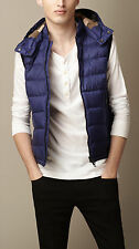 "NEW Burberry Brit Nova Check ""Moores"" Down Quilted Hooded Vest Blue Store Tags"