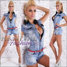 NEW womens fashion JEANS JUMPSUIT + BELT XS S M L XL shop online OVERALL PANTS