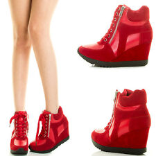 Red High Top Zipper LaceUp Wedge Heel Platform Womens Fashion Sneaker Ankle Boot