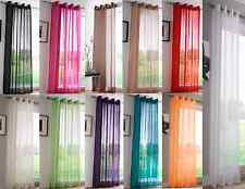 MODERN PLAIN EYELET RING TOP NET VOILE READY MADE CURTAIN PANEL USED ON POLES