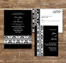 100 Personalized Custom damask black red Wedding Invitations Set ANY COLOR