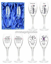 PERSONALISED Champagne GLASSES for Marriage Bride and Groom Anniversary Gifts &
