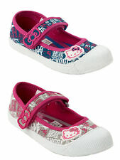 GIRLS HELLO KITTY DENIM PINK CANVAS VELCRO PUMPS SHOES TRAINERS KIDS UK SIZE 8-2