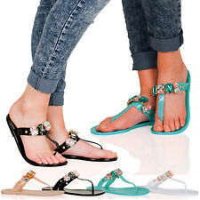 Heather Womens Gem Jewel Toe Post Jelly Flip Flops Sandals Ladies Shoes Size D8S