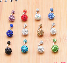 NEW Ball Body Piercing Navel Belly Button Bar Ring Barbell Rhinestone Crystal