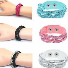 High Crystal Braided Bracelet Waterfall Leather Wrap Bracelet Wristband Charms